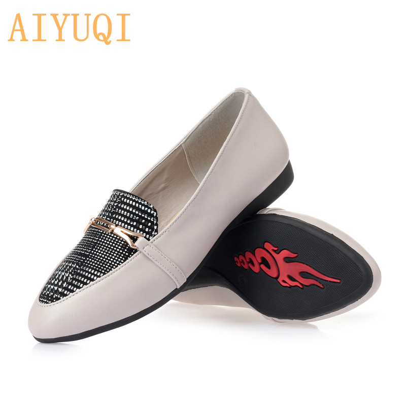 AIYUQI Genuine Leather women flat shoes 2019 spring fashion rhinestone casual shoes women Korean color matching Loafers women in Women 39 s Flats from Shoes