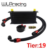 UNIVERSAL 19 ROWS OIL COOLER OIL FILTER SANDWICH ADAPTER BLACK NYLON STAINLESS STEEL BRAIDED AN10 HOSE