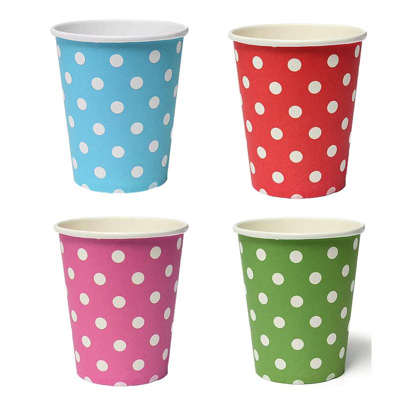 Best selling 50pcs Polka Dot Paper Paper Cups Case Disposable Tableware Wedding Birthday Decorations Blue