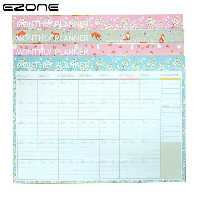 EZONE Floral Notebook Printed Cute Fox/Rabbit Note Book Monthly - daily monthly planners
