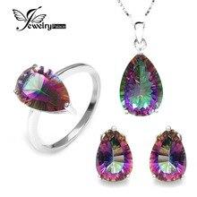 Venta al por mayor Caliente de Las Mujeres Gem Stone Pear 4.5ct Genuino Rainbow Mystic Topaz Colgante Del Pendiente Del Anillo Sólido Puro 925 plata