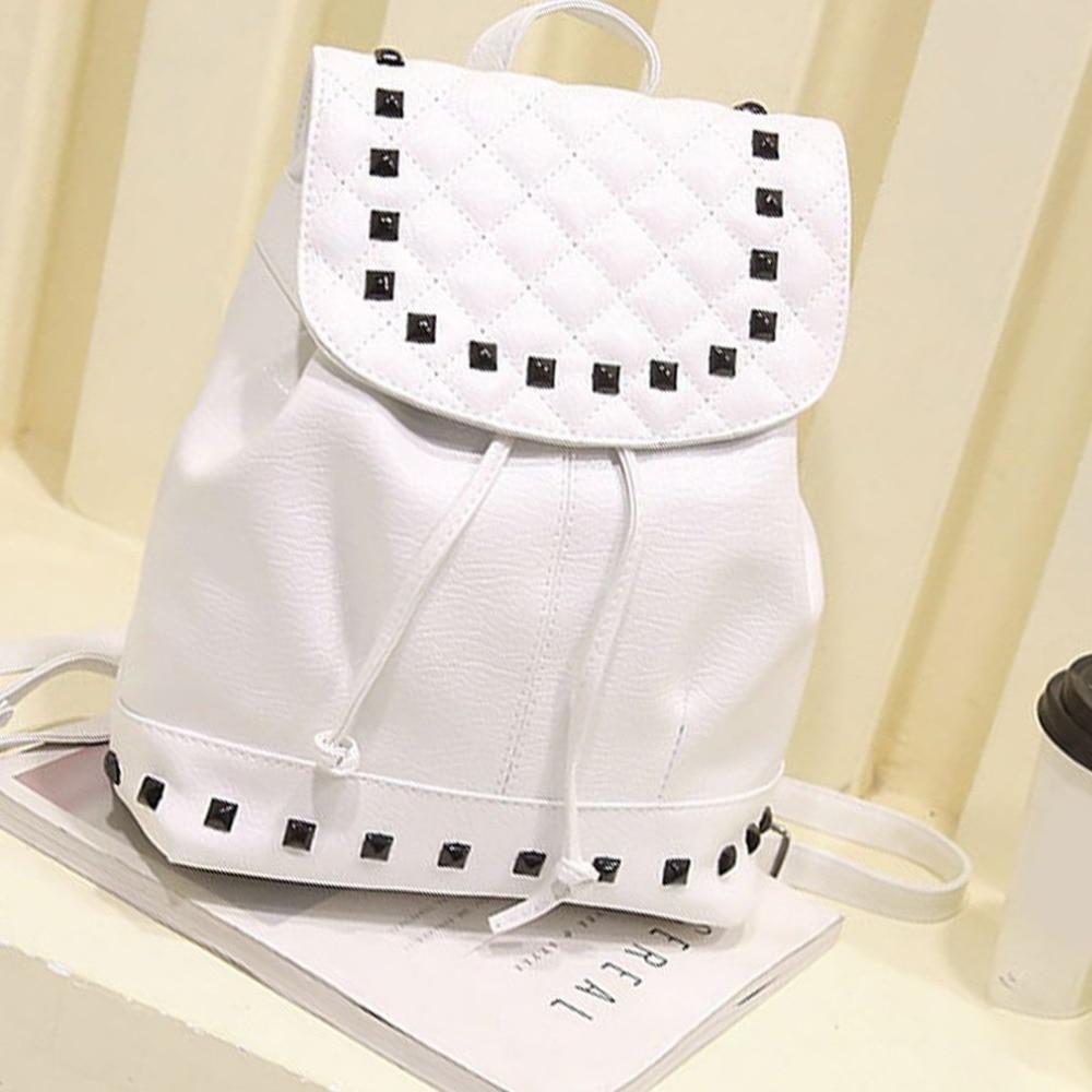 2018 Women Backpack New Trendy Rivets PU Leather Ba