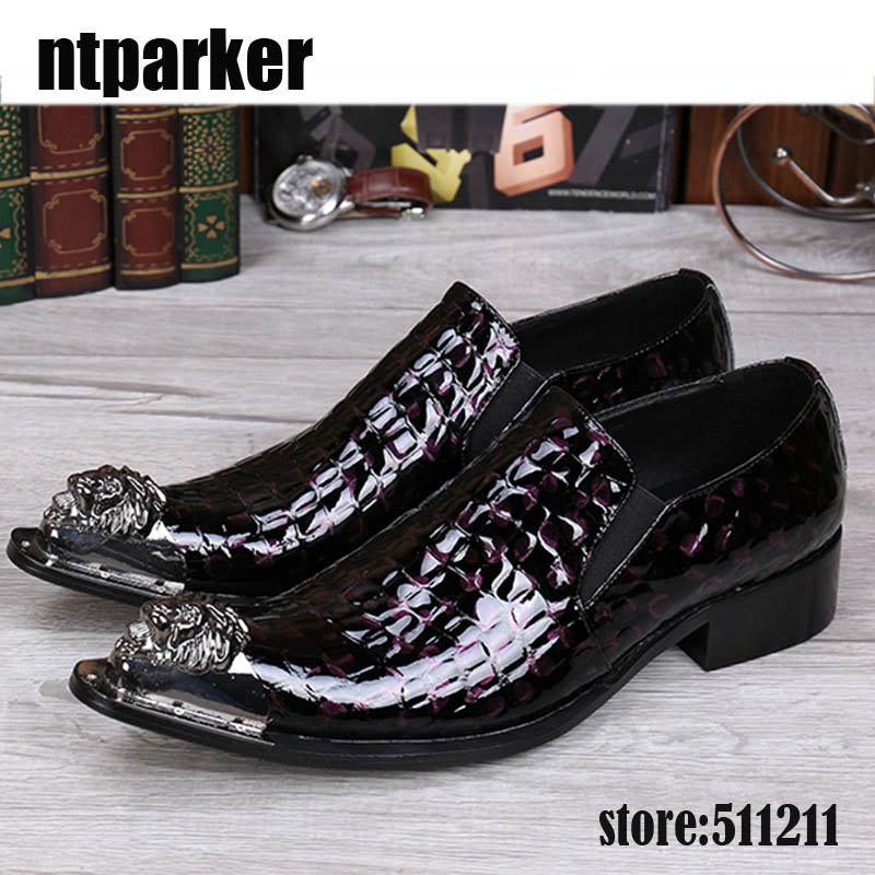 ntparker Big Sizes EU38-46 Men's Leather Shoes Brown Black Dress Shoes for Men Pointed Iron Toe High Heels Men Shoes Luxury!