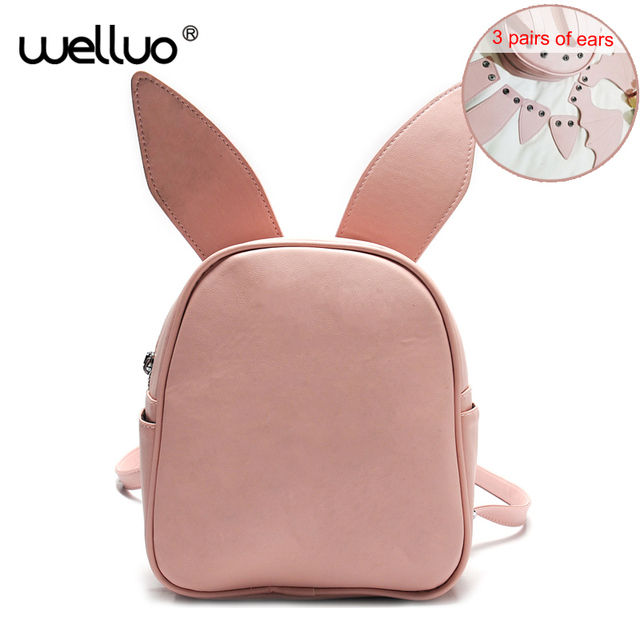 f0e1996948 Women Leather Backpack With Three Pairs of Ears Girls Small Back Pack Cute  Modeling Trend Backpacks Bat Wings Shoulder Bag XA14B