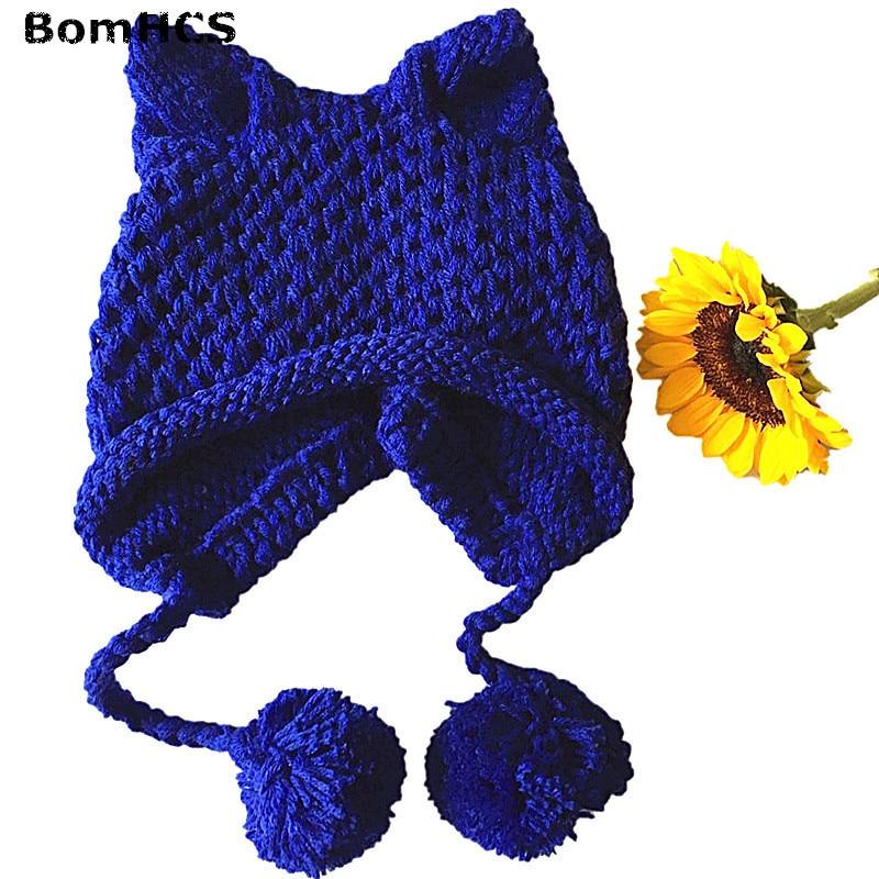 BomHCS Super Cute Women's Girls' Fox Ears Hat Winter Warm Handmade Knitted Cat Ears Beanie чехол для карточек cute fox дк2017 115