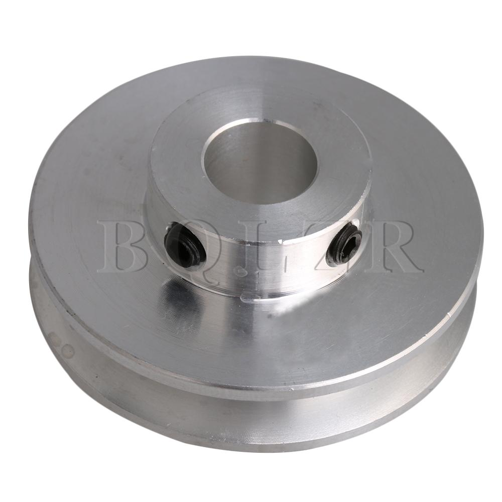 BQLZR 41x16x10MM Silver Aluminum Alloy Single Groove 10MM Fixed Bore Pulley for Motor Shaft 3-5MM PU Round Belt image