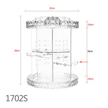 360 Degree Rotation Transparent Acrylic Cosmetics Storage Box Multi-function Detachable Makeup Organizer