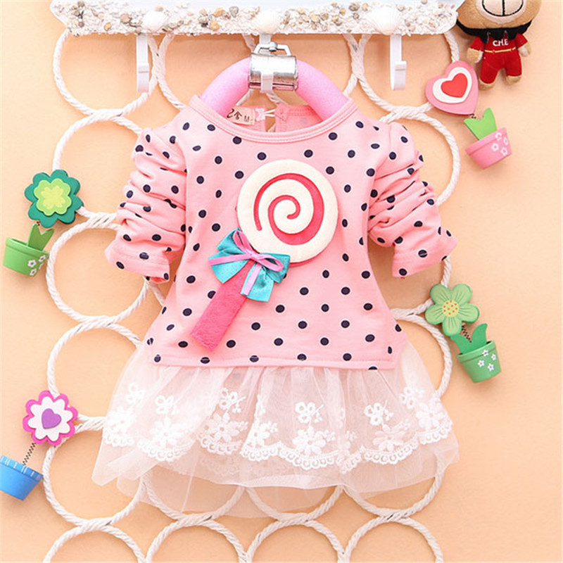 2017 Newest Fashion Spring Autumn Kids Sweater Greatly Lollipop Full Version Dot Girls T-shirt Stitching Baby Girls lace Dresses