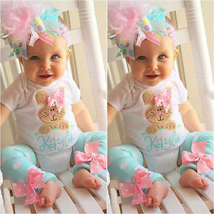 Cute Cartoon Girls Clothes Sets Printed Rabbit Short Sleeved Bodysuit + Polka Dot Leg Warmer Baby Girls Clothing Set 0-18 Months(China)