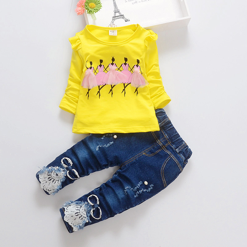 Good quality 2017 Spring Baby Girls Suits Infant Lace T Shirt Jeans 2 Pcs Kids Clothes