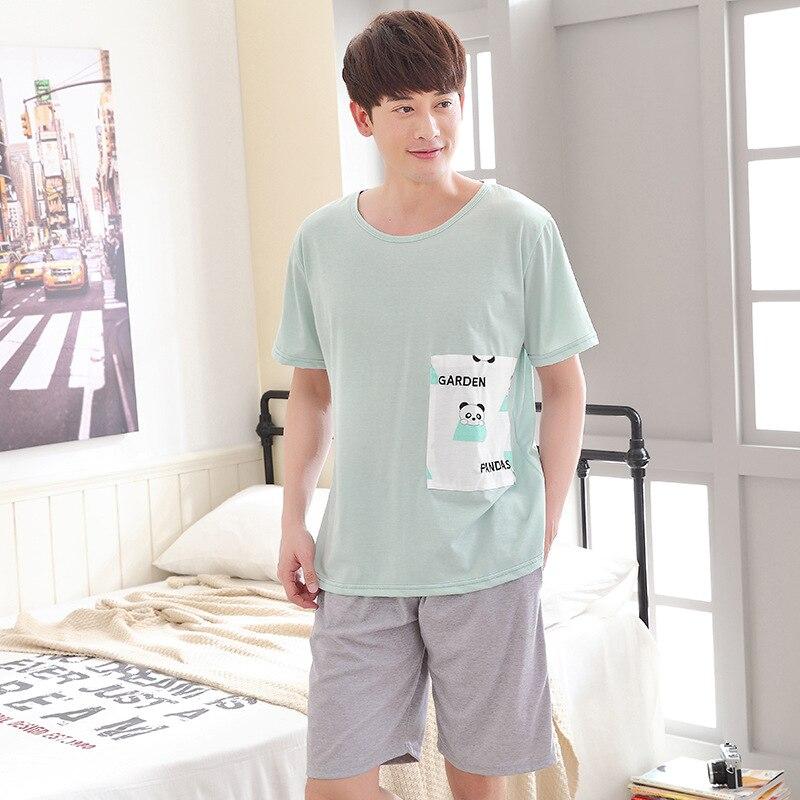 Men Cute Cartoon Men Pajamas Summer 2019 New Short Cotton Thin  Section XL Home Clothes Suit Pajama Sets Mens Pajama Set