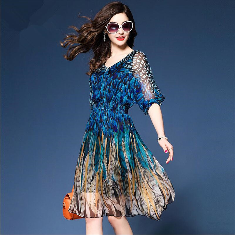 Spring Summer High end Formal Office Party Holiday Womens Peacock Color Elastic Tunic Dresses Femme Silk Chiffon A line Dress