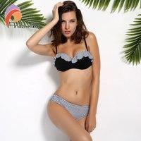 Andzhelika Sexy Bikinis Women Swimsuit Push Up Swimwear New Bandeau Ruffle Plaid Swimsuit Summer Party Beach