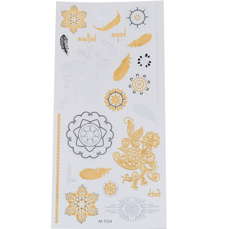 Hot Snowflake Feather Temporary Tattoo Sticker Golden Glamour Sexy Star Woman Body Finger Art Waterproof