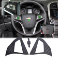 DWCX 2Pcs Carbon Fiber Steering Wheel Protective Cover Sticker For Chevrolet / Holden Malibu 2012 2013 2014