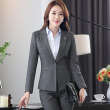 Work wear black gray pant suits for women 2016 new OL formal slim long sleeve blazer with pants office ladies plus size suit