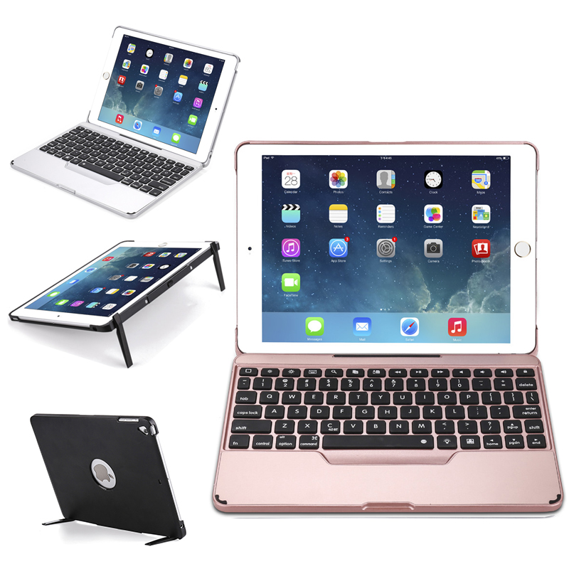 Case for iPad 9.7'' 7 colors Backlit Detachable Keyboard Case Flip Stand Tablet PC Cover for iPad Air/Air2/Pro 9.7/iPad 9.7 2017 new detachable official removable original metal keyboard station stand case cover for samsung ativ smart pc 700t 700t1c xe700t