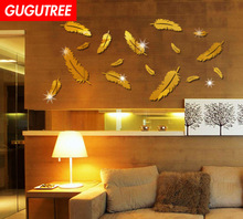Decorate Diy 3D feather art wall sticker decoration Decals mural painting Removable Decor Wallpaper LF-19 new diy wallpaper mangnolia flowers wall painting stickers home decor decoration removable art decals dnj998