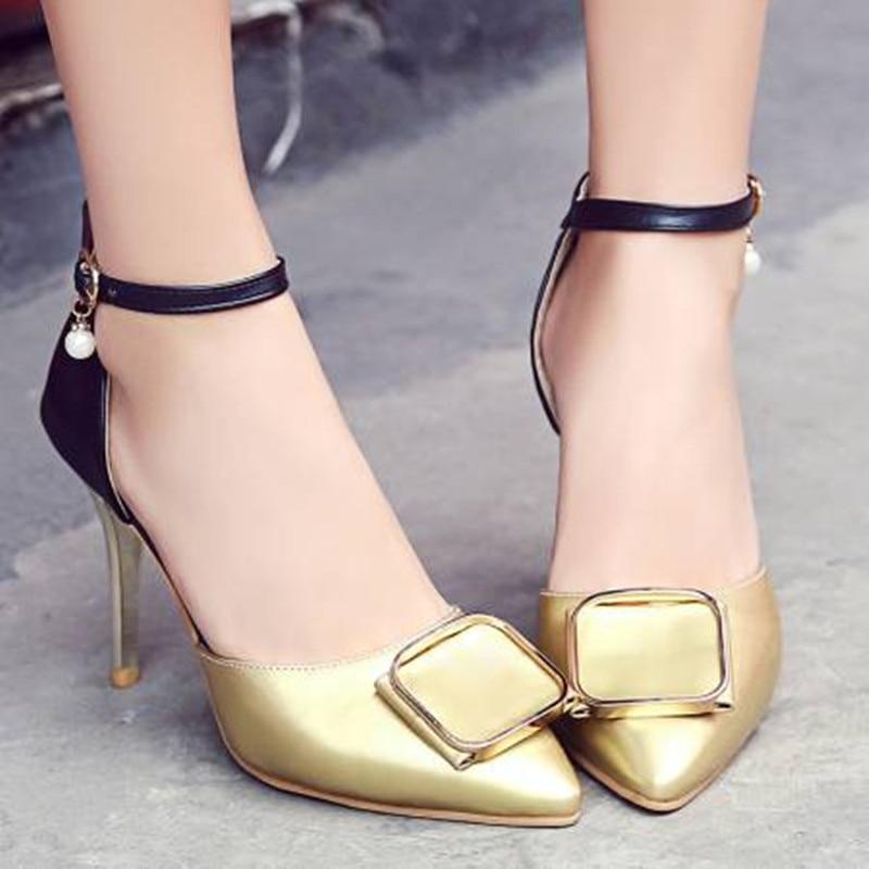 Marque Femmes Mode D'été Bout 2018 Nouvelle Pointu Talons gold Hauts Stiletto Silver Sexy Chaussures Pompes nX0wPkN8O