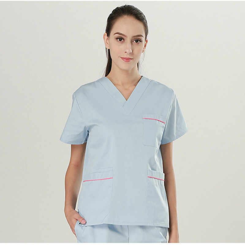נשים עבודה בבית החולים אחיד רפואי לשפשף סט V צוואר קצר שרוול למעלה מכנסיים אחות רופא שיניים מרפאת ניתוח בגדי סרבל