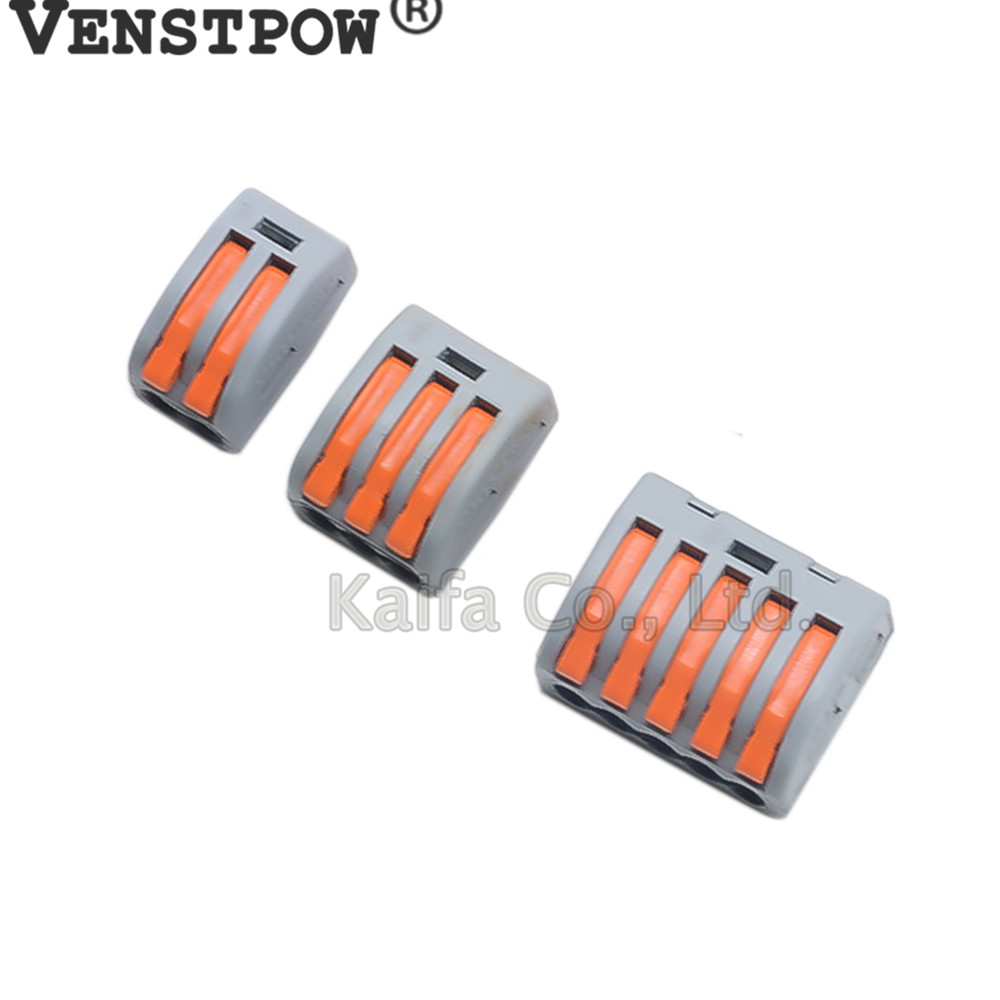 5-50pcs  222-412 222-413 222-415 Universal Compact Wire Wiring Connector  Conductor Terminal Block With Lever AWG 28-12