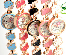 Top Fashion Brand Hello Kitty Quartz Watch Children Girl Women Crystal Wrist Watches Wristwatch Cartoon Cute Lovely