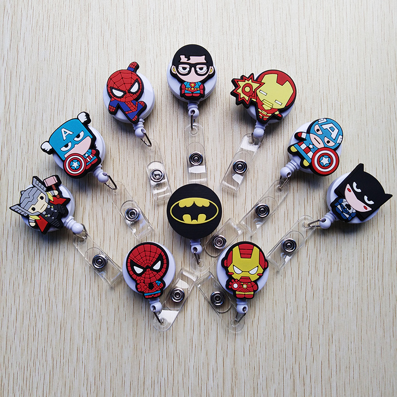 10Pcs/lot Sell Well Cartoon Retractable Badge Reel Student Nurse Features ID Name Card Badge Holder Hospital Office Supplies