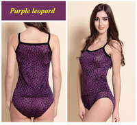 100 Natural Silk Knitted Purple Leopard Print Spaghetti Strap Vest Panties Set Pure Silk Knitted Female