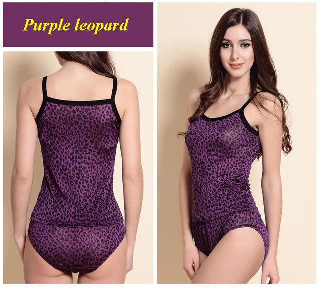 100% natural bragas chaleco de la correa de espagueti de punto de seda púrpura del estampado leopardo conjunto, conjunto de ropa interior femenina de seda pura de punto