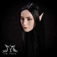 1/6 Female Head Model Elf Girl Head Carved Black Hair Detachable Ears for 12 pale Figure Body