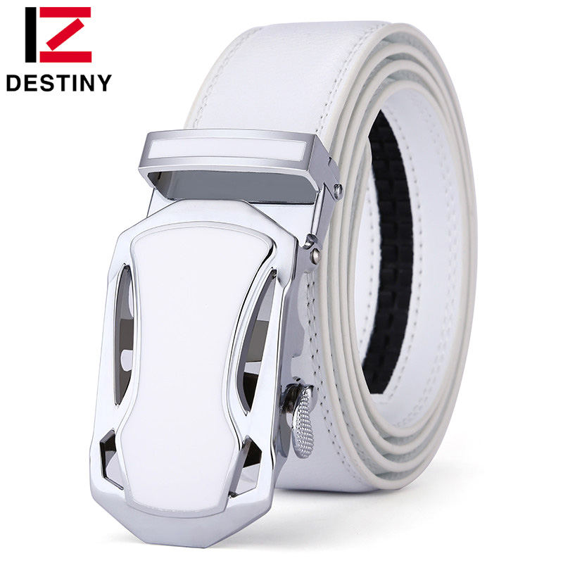 DESTINY Belt Menn Luksus Famous Brand Designer High Quality Mann Genuine Leather Strap Hvit Automatisk Spenne Belt Ceinture Homme