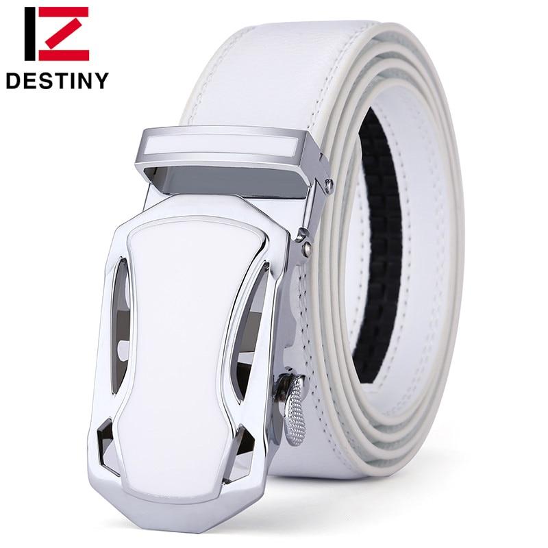 DESTINY Belt Men Luxury Famous Brand Designer High Quality Male Genuine Leather Strap White Automatic Buckle Belt Ceinture Homme