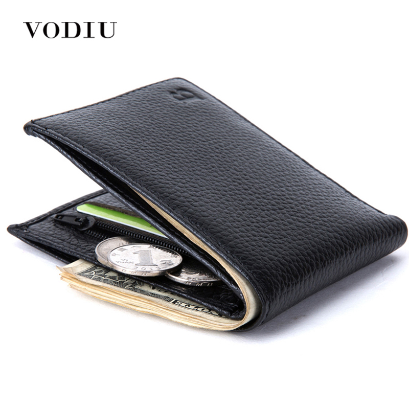 2017 Minimalistiska Vintage Designer Äkta Läder Män Slim Tunna Mini Wallet Male Small Purse Money Clip Kreditkort Dollar Pris