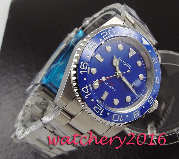 New 40mm Bliger blue dial ceramic bezel date sapphire glass Luminous marks Deployment clasp GMT automatic Movement Men's watch цена