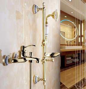 Luxury 3 Style Gold Color Bath Tub Faucet with Handheld Shower Head Faucet