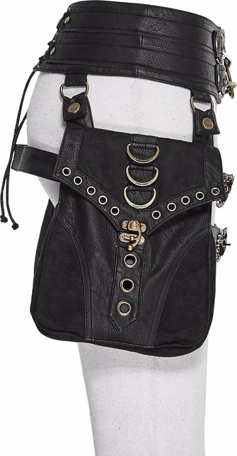 Steampunk Gothic Ladies Double Waist Belt Bag With Two Buckles Black PU Leather Waist Belts Bags With Zipper Back Lace-Up Bags 1