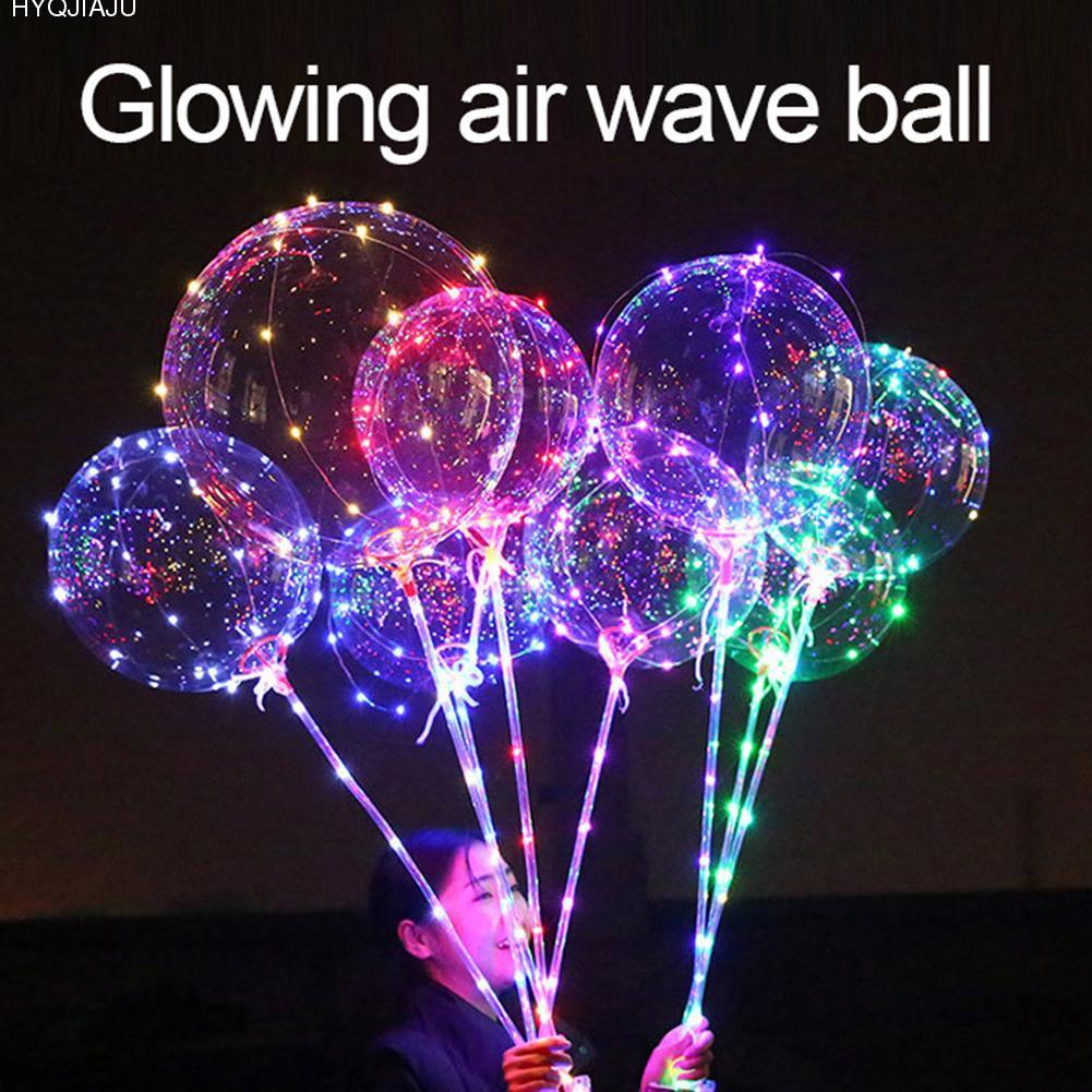 21 cm/ 8.27 inch Glowing Bobo Balloon Musical Handle Handheld LED Type Bubble Balloon Ra ...