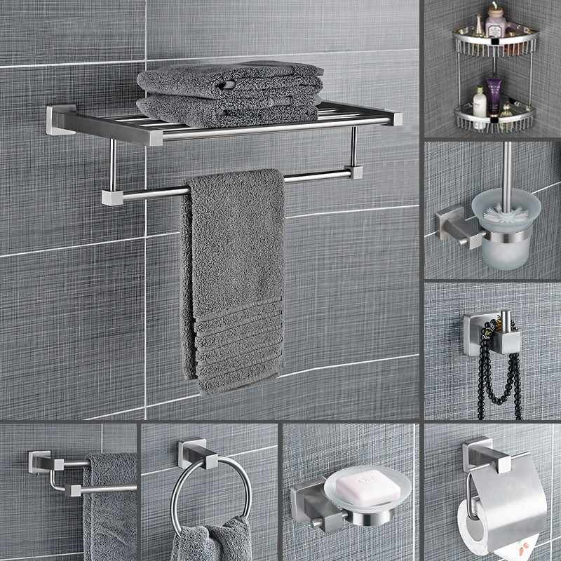 stainless steel bathroom towel bar ceramic soap dish brushed paper rack wall shelves bathroom accessories set roll holder
