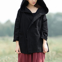 Women Casual Kimono Blouses Vintage Hooded Long Sleeve Button Female Blouse Retro Plus Size Winter Autumn Tops Shirt Oversized