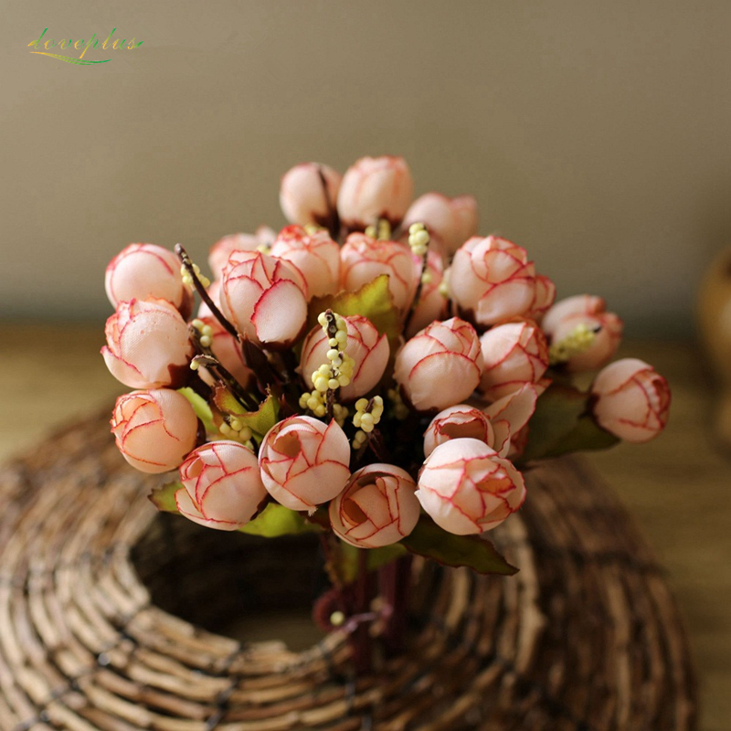 Zinmol Silke Rose Flower Kunstige Blomster Levende Fake Leaf til Home Wedding Decoration Havebord Dekor Små Rose 6 farver