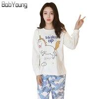 BabYoung 2017 Autumn Winter Women Pyjamas Cotton Cartoon Unicorn Long Sleeve White Pijama Mujer Sleepwear Female