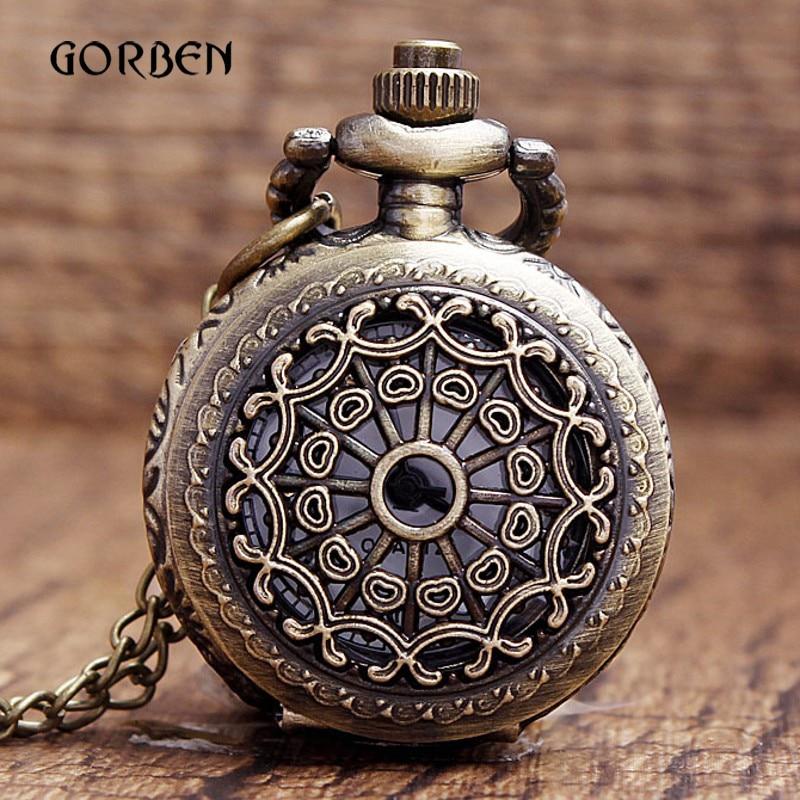 Mini Small Quartz Pocket Watch Vintag Retro Hollow Spider Web Pocket Fob Watch Necklace Pendant Chain Men Gift Relogio De Bolso
