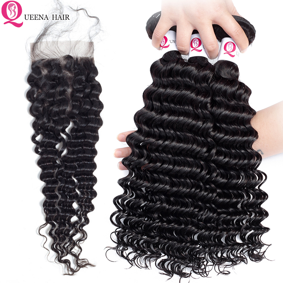 Queena Cheap Cambodian Deep Wave Bundles With Closure With By Hair Natural Color Deep Curly Human Hair Bundles With Closure Remy