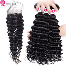 Queena Cheap Cambodian Deep Wave Bundles With Closure With by Hair Natural Color Deep Curly Human Hair Bundles With Closure Remy(China)