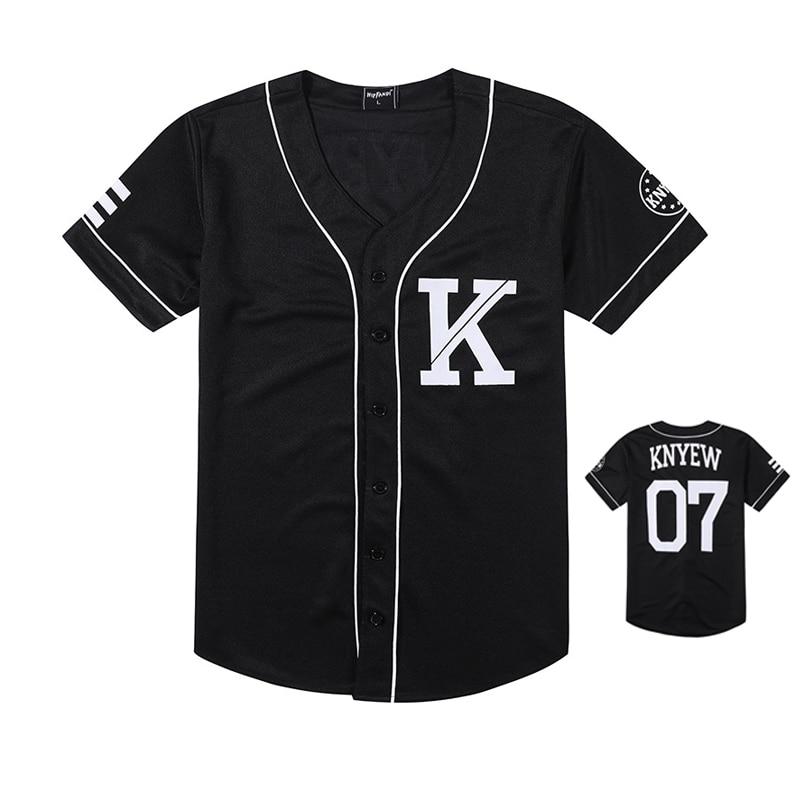 Fashion Men Baseball Jersey Hip Hop Trend Retro College Couple Baseball Striped Half Sleeve Shirt Black White Cotton T-shirts