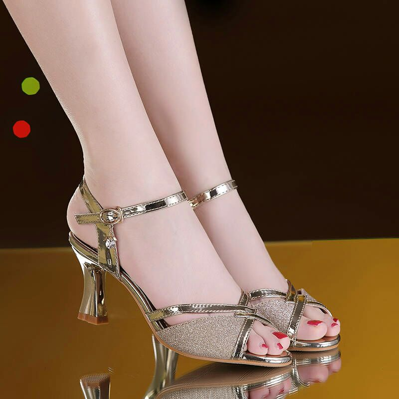 HTB1grDRaVY7gK0jSZKzq6yikpXaq Women Sandals 2019 Summer Shoes Woman Dress Shoes Bling Weddging Shoes Silver High Heels Pumps Ladies Shoes zapatos mujer 7217