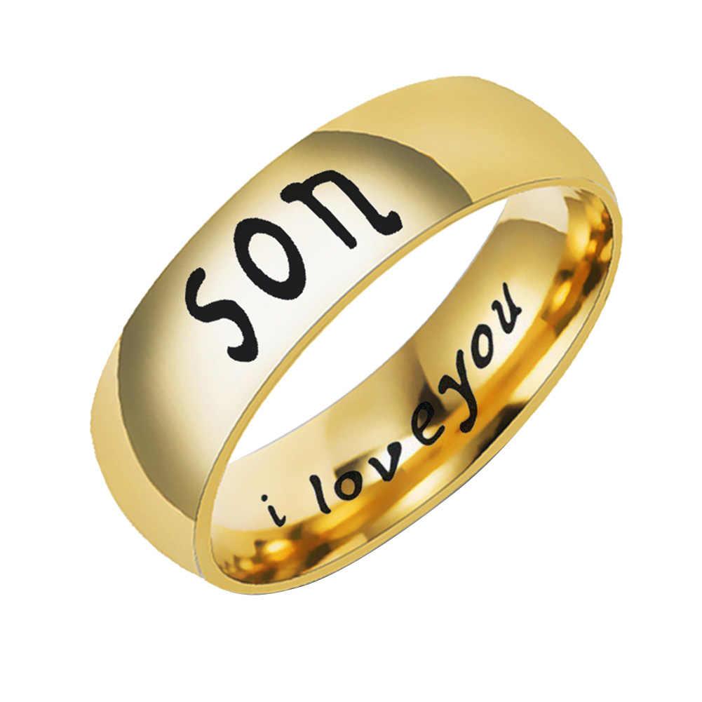 אופנה אמא אבא בת בן אותיות להקת נירוסטה משפחה חבר טבעת חדש
