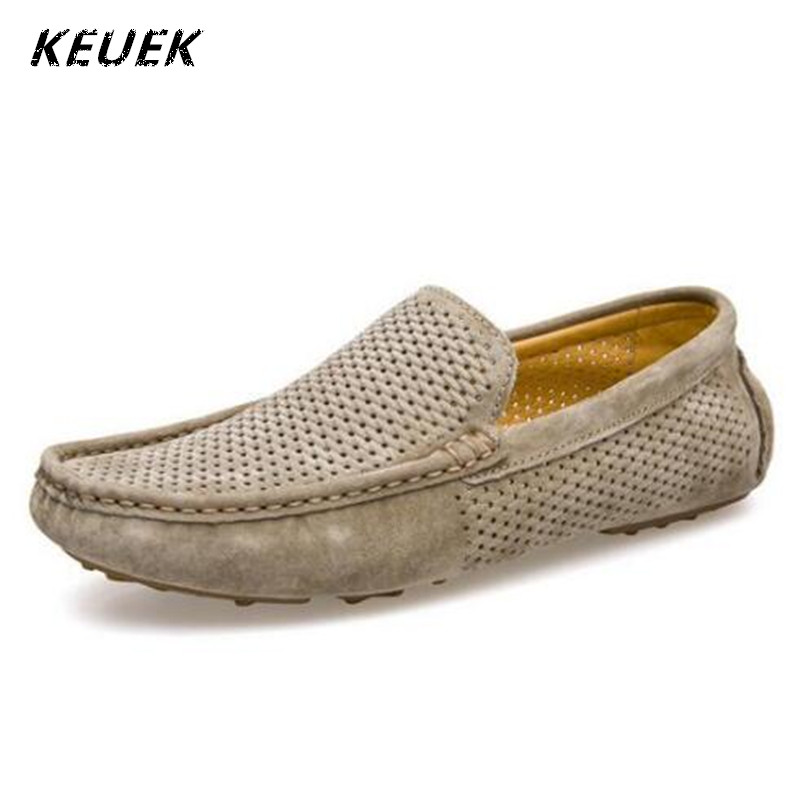 Genuine leather Men Loafers Breathable Summer Slip-On Flats Male Boat shoes Casual Driving shoes Hollow Out Moccasins 022  new men leather driving moccasins shoes british hollow men s slip on loafers summer flats men shoes casual comfy breathable