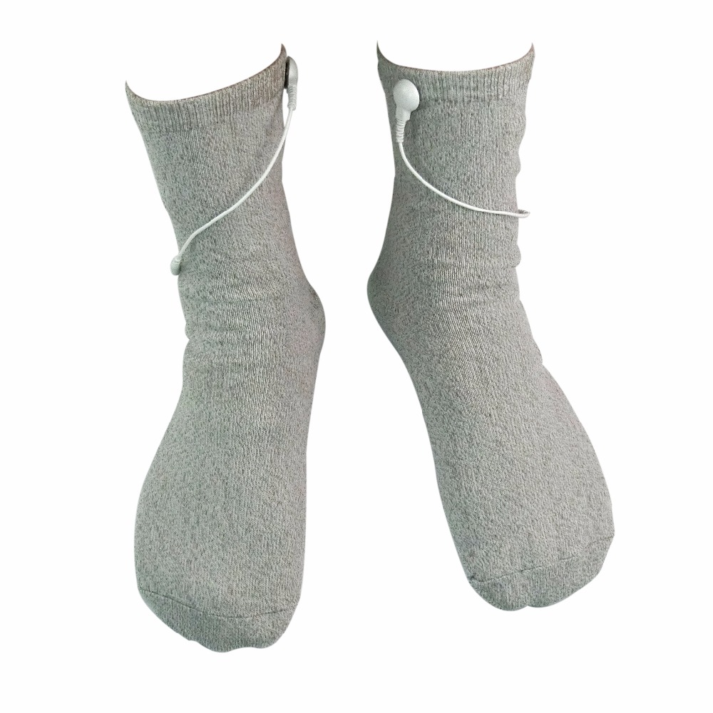 2Pairs/Pack Breathable Conductive TENS Massage Sock For TENS/EMS Physical Massage Anti-static/Anti-skid Silver Fiber Socks abeso 2 10 pairs carbon conductive fibre