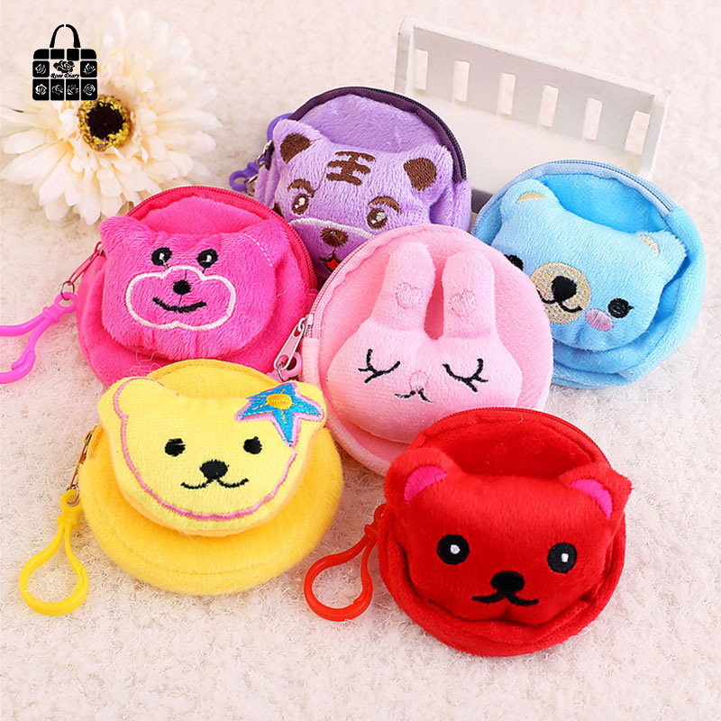 ROSEDIARY Cute Cartoon animal head flannelette children zipper bag kids zero wallet girl boy purse,lady coin wallets Case new fashion style girl cartoon key coins zero wallet coin purses lovely children cards bag kids wallets